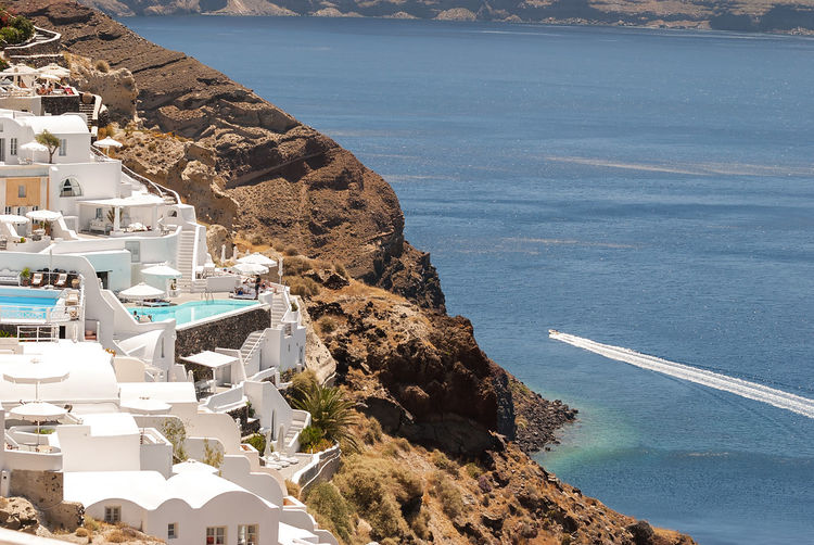 High Angle View Of Oia Village By Sea At Santorini