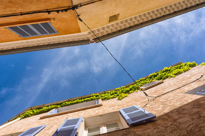 Connected Architecture Between Blue Blue Sky City Composition Connected With Nature Contrast Detail Façade Lights And Shadows Looking Up Mediterranean  Old City Provence Rendered Wall South Of France Sunset Tourism Windows