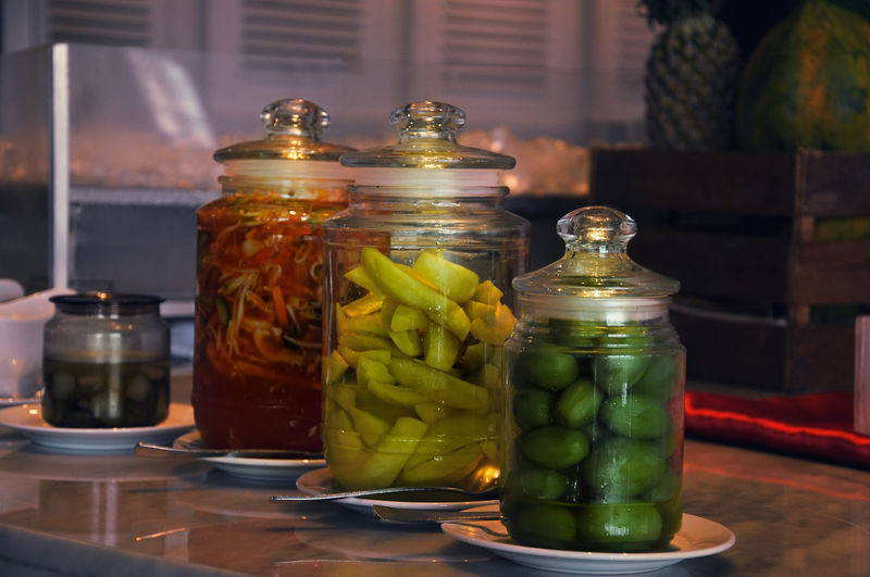 sour and spicy Asinan Bogor Asian Food Bottle Container Cucumber Focus On Foreground Food Food And Drink Freshness Fruit Glass - Material Healthy Eating Indonesia Food Indoors  Jar No People Sour Taste Spice Still Life Table Temptation Transparent Variation Vegetable Vegetables
