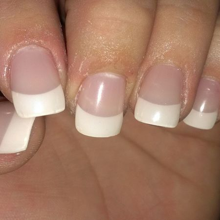 Finally got ma nails did with my home girl @angcolden Woo Nailsdid Acrylicfrenchtip Pronails finally
