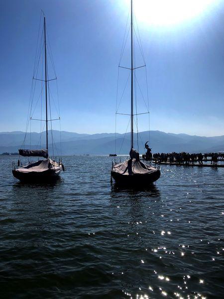 月亮女神 Nautical Vessel Transportation Mast Mode Of Transport Sky No People Outdoors Nature Moored Harbor Sailboat Sailing Beauty In Nature Scenics Sea Day Water