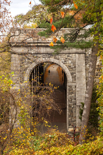 Arch bridge in abandoned building
