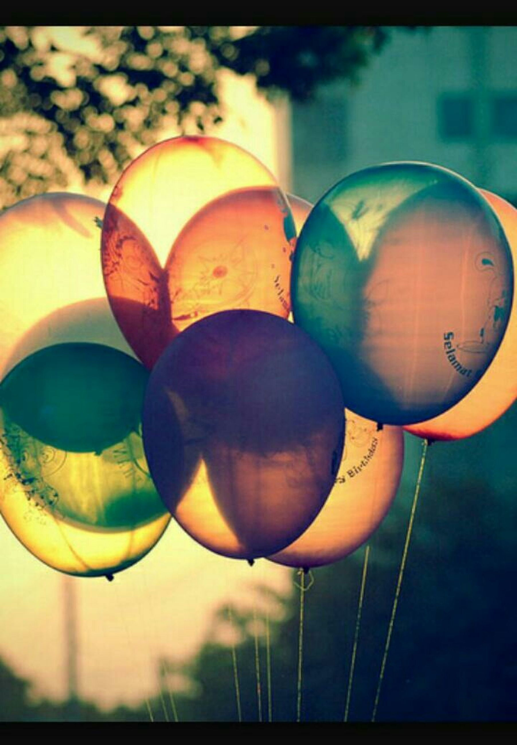 focus on foreground, close-up, hanging, sphere, low angle view, decoration, balloon, lantern, no people, multi colored, orange color, circle, celebration, outdoors, lighting equipment, sky, ball, auto post production filter, shape, cultures