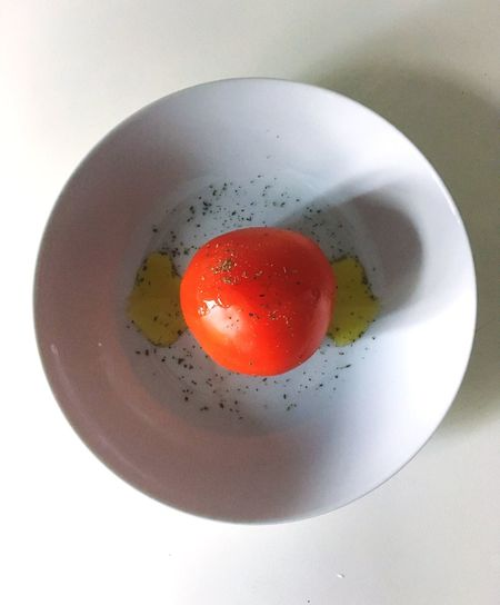 Directly above shot of strawberry served in plate