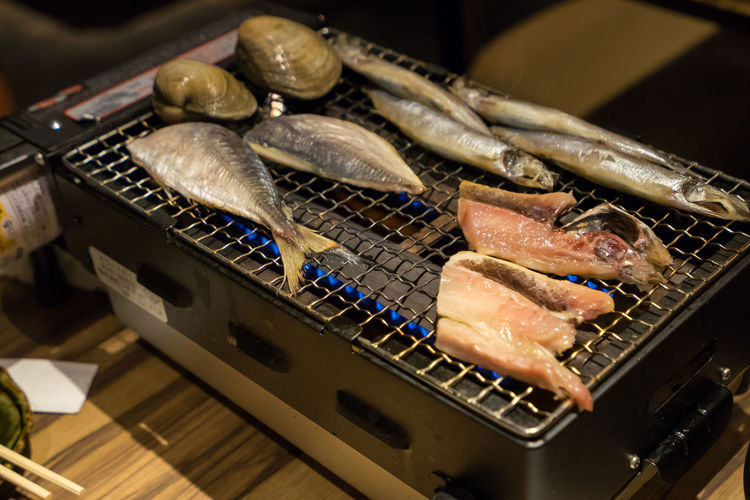 Appliance Barbecue Barbecue Grill Close-up Focus On Foreground Food Food And Drink Freshness Grilled Healthy Eating Heat - Temperature High Angle View Indoors  Kenhina Meat No People Preparation  Preparing Food Seafood Still Life Temptation Wellbeing