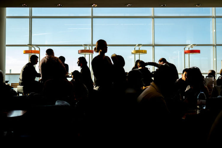Airport Airport Waiting Colorful Floor Lamp OrlyAirport Real People Silhouette Standing Window