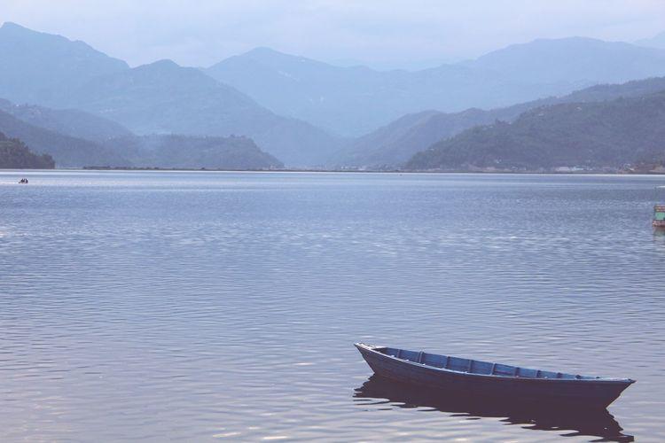 peace ...... #nepal #pokhara Water Mountain Nautical Vessel Landscape Lakeside Calm Lakeshore