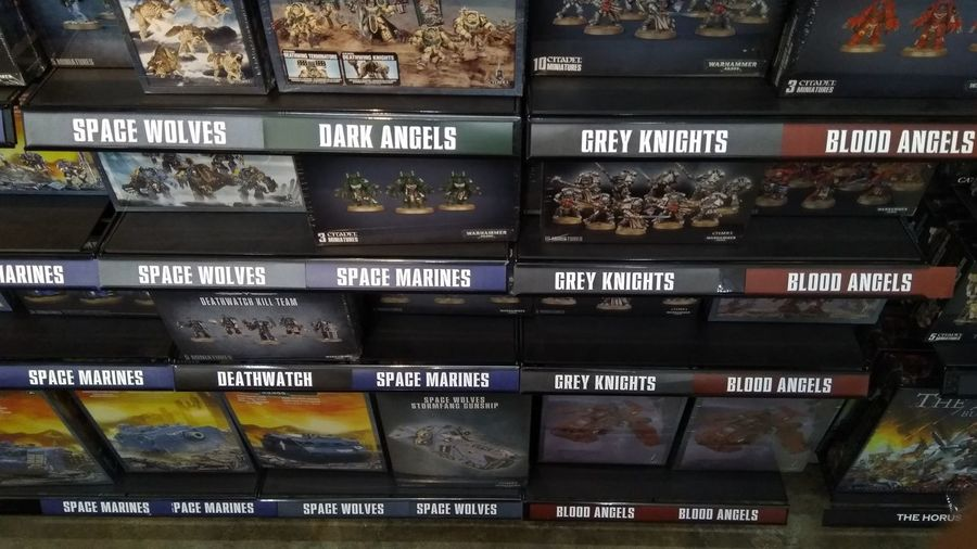 variety of box set on Warhammer store Store Warhammer Warhammer40k Games Workshop Miniature Table Top Wargames Boxset City Business Text Leaving Close-up Capital Letter Signboard Information
