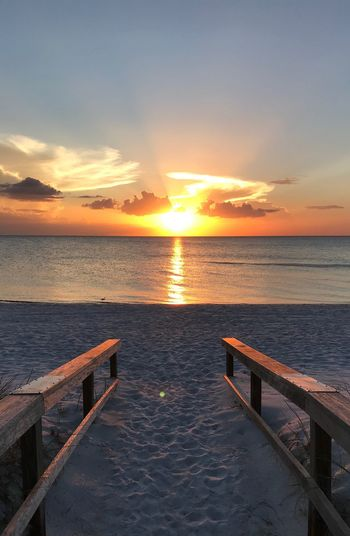 Sunset Sky Water Sea Scenics - Nature Beauty In Nature Tranquil Scene Cloud - Sky Tranquility Beach Nature Sun Idyllic Horizon Over Water No People Outdoors