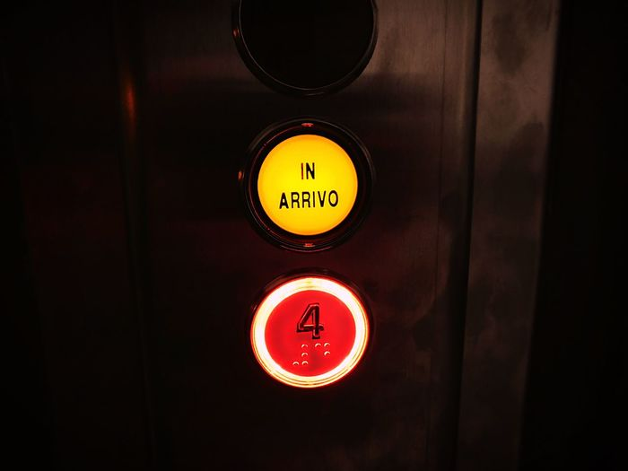 Elevator is coming Text Buttons Illuminated EyeEmNewHere Let's Go. Together.