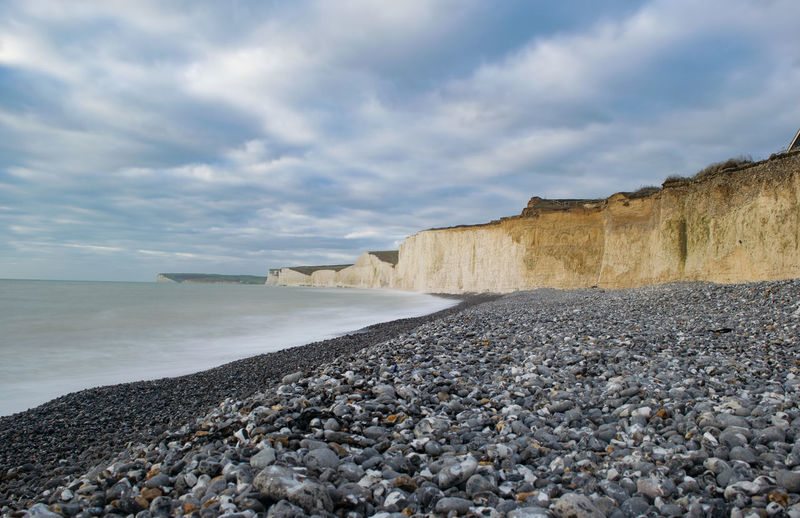 white cliffs at Birling gap Birling Gap Beach Beauty In Nature Cloud - Sky Day Horizon Over Water Nature No People Outdoors Pebble Rock - Object Scenics Sea Sky Tranquil Scene Tranquility Water White Cliffs