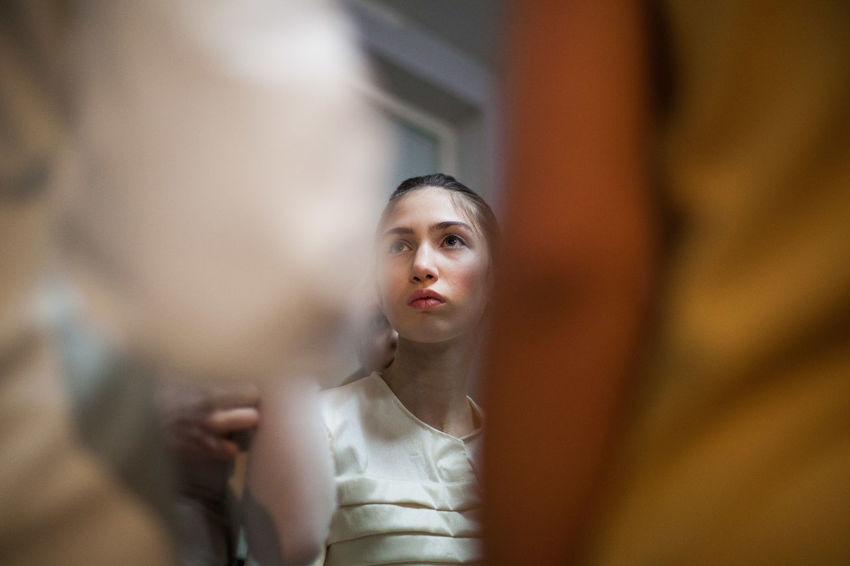 Fashion during a Fashion Week in Tbilisi, 2018. © Adlan Mansri www.adlanmansri.com The Fashion Photographer - 2018 EyeEm Awards Adult Business Person Close-up Contemplation Headshot Incidental People Indoors  Looking Mid Adult People Portrait Selective Focus Sitting Two People Watching Women Young Adult Young Women