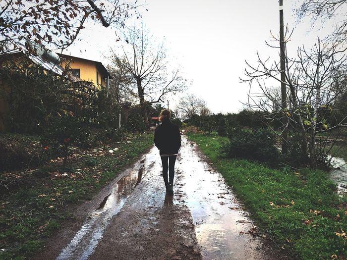 Full Length Rear View Of Woman Walking Wet Street In Rainy Season