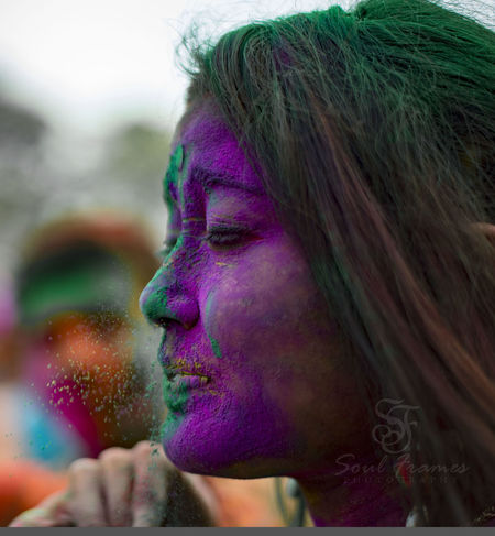 Beautiful Woman Blowing Calcuttadiaries Celebration Color Festival EmeEmPhoto Eyem Best Shots Face Paint Face Powder Focus On Foreground Fun Happiness Headshot Holi Holi Festival India Leisure Activity Lifestyles Multi Colored One Person Powder Paint Real People Traditional Festival Young Women