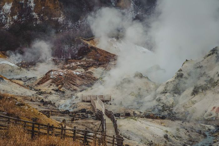 Jigokudani hot springs Mountain Nature Geology Tranquility Landscape High Angle View Mountain Range No People Wilderness Area Winter EyeEm Best Shots Japan Noboribetsu My Traveling Photography From My Point Of View Spring Hot Spring