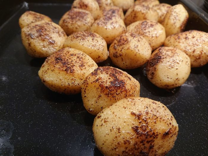 High angle view of fried potatoes