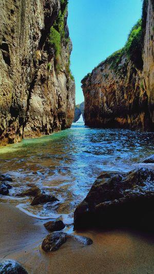 Playa de La Huelga, Asturias. Asturias Beach Beauty In Nature Clear Sky Cliff La Huelga Nature Outdoors Rock Formation Sea SPAIN Tranquility Water