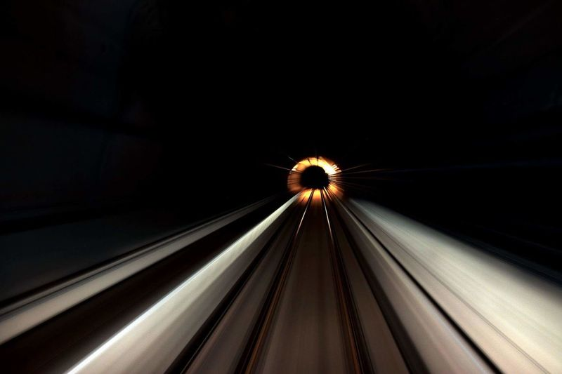 Blurred motion of illuminated tunnel
