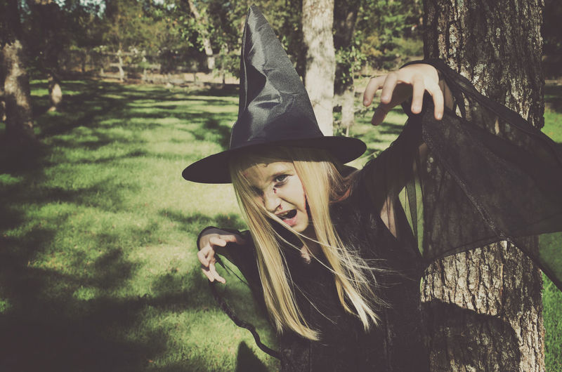 Costume Day Green Color Halloween Halloween Horrors Halloween Makeup Kids Lifestyles Outdoors Portrait Tree Witch