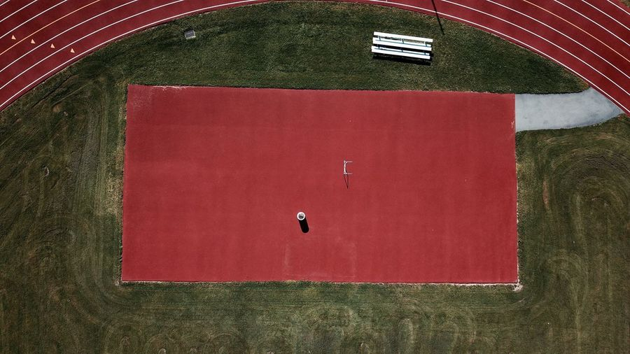 -Off-season- Red Sport High Angle View Playing Field Outdoors The Week On EyeEm EyeEm Best Shots Droneshot Simplicity Minimalism Birdseyeview Drone  Overhead Clean Dronephotography The Week On EyeEm Fresh On Market 2017