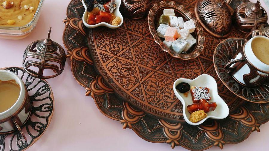 High angle view of food on table