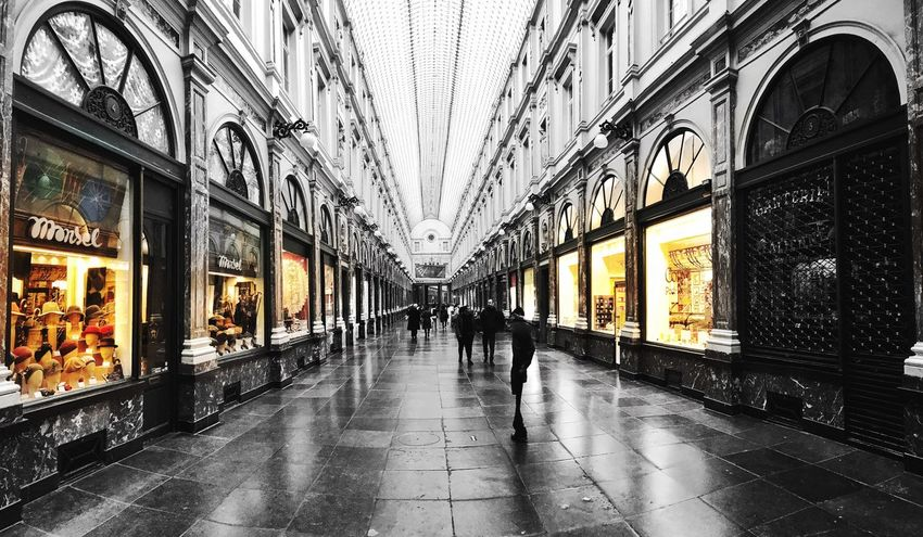 Architecture Store Illuminated Travel Destinations Shopping Mall Real People People Day Design Urban Blackandwhite Geometric Shape Structure City City Street City Life Street Nightlife Brussels Galerie De La Reine