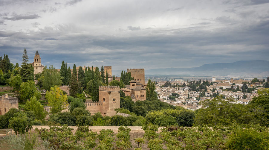 GRANADA, SPAIN - October 11, 2018: The famous Alhambra in Granada, Spain. It is a palace and fortress complex located in Granada. Granada SPAIN Alhambra Alhambra De Granada  Architecture Arabic Style Ancient Architecture Mosque Architecture Interior Design Building Exterior Built Structure Cloud - Sky Sky Building City Tree Plant Cityscape Nature No People History Travel Destinations Day The Past Residential District Outdoors Old Travel