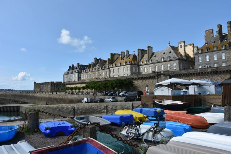 France Arch Bridge Architecture Blue Building Building Exterior Built Structure Canal City Cloud - Sky Connection Day Incidental People Mode Of Transportation Nature Nautical Vessel Outdoors Sky St Malo Tourism Transportation Travel Travel Destinations Water