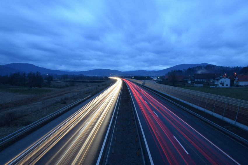 Blue Cars Chillyweather  Cloudy Sky Getting Dark Highway Lights Long Exposure Motion No People Outdoors Simetrical Need For Speed Overnight Success Capturing Motion