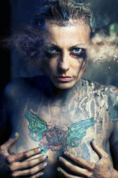 Woman with many tattoos. Digitally generated image Adult Adults Only Altered Art ArtWork Creative Digital Digital Art Digitally Generated Fantasy Generated Graphic Graphical Looking At Camera Mascara Naked_art One Person Only Women People Portrait Sexygirl Stage Make-up Tattoo Tattooedgirls Woman