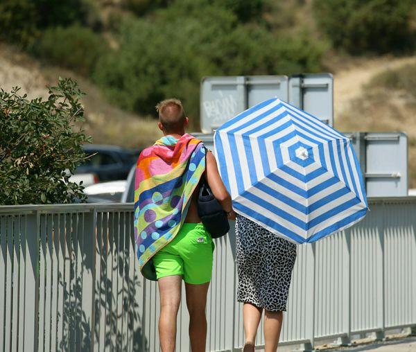 Couple heading to beach