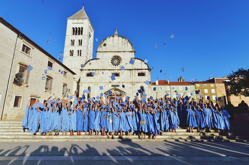 Happines means trowing hats in the air, happy that the medicine school is over St Donat Church Zadar Medicine School Happiness Graduation Zadar,Croatia Architecture Building Exterior Built Structure Sky EyeEmNewHere Real People City Blue Clear Sky Sunlight