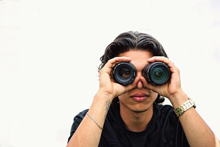 Through my eyes. EyeEm Selects Binoculars White Background Human Eye Portrait Photography Photographer Photogenic  Canon EOS 6D Shotbyme Self Capture