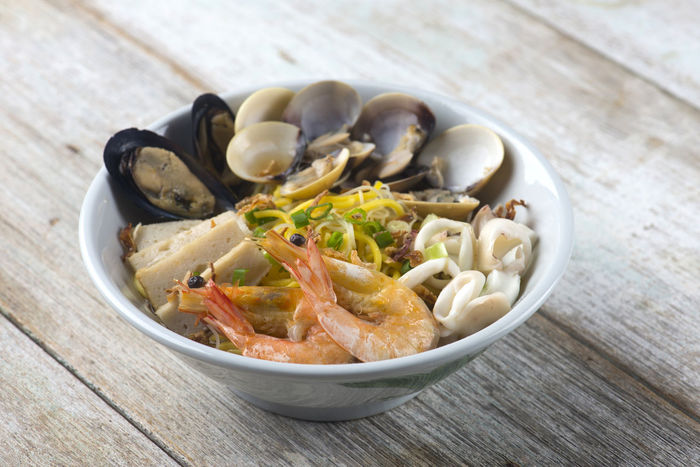 Seafood Seafood Noodles Soup Bowl Close-up Food Food And Drink Freshness Healthy Eating High Angle View Indoors  Italian Food No People Pasta Ready-to-eat Seafood Seafood Noodle Serving Size Still Life Table Wellbeing Wood - Material