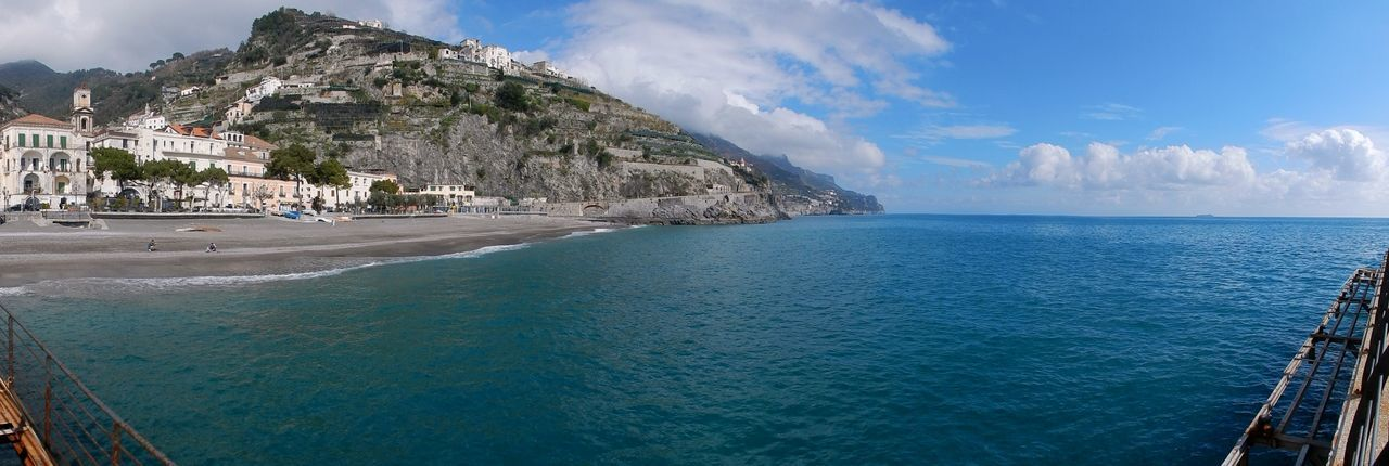 Water Sea Sky Cloud - Sky Scenics - Nature Beauty In Nature Architecture Built Structure Mountain Nature Land Transportation Building Exterior Day Horizon Horizon Over Water Tranquil Scene Beach Travel No People Outdoors Amalfi Coast