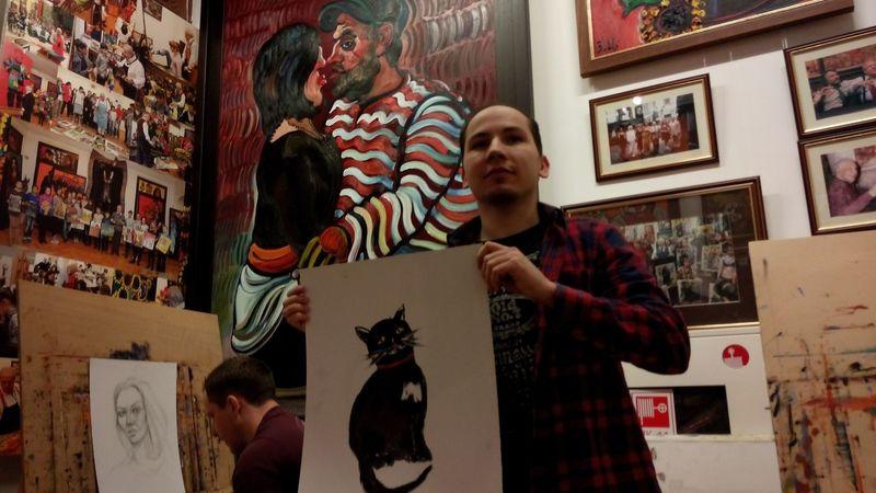 Женя Будич со своим котиком: Art Oil