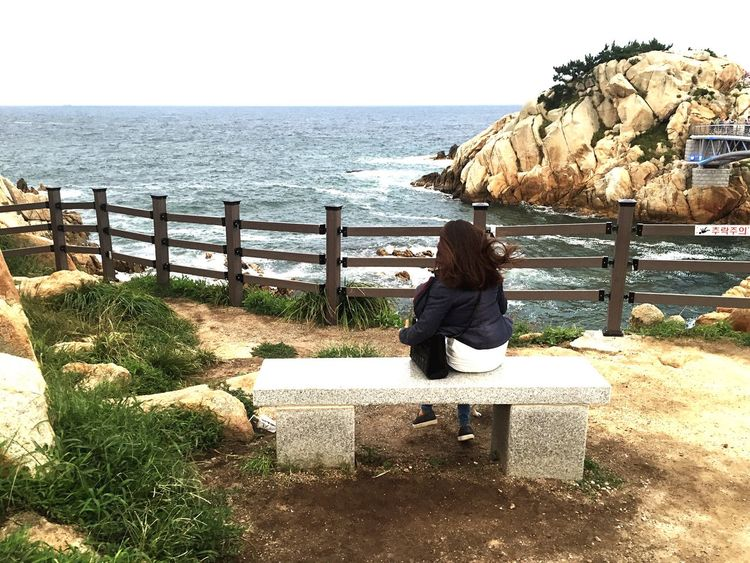 Sea Horizon Over Water Sitting Full Length Clear Sky Relaxation Tranquil Scene Scenics Nature Outdoors Rock Beauty In Nature Stone Material Woman Who Inspire You South Korea Daewangam Ulsan_korea