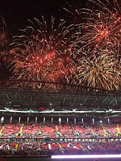 Fireworks Stadium Football My Sky Capture The Moment