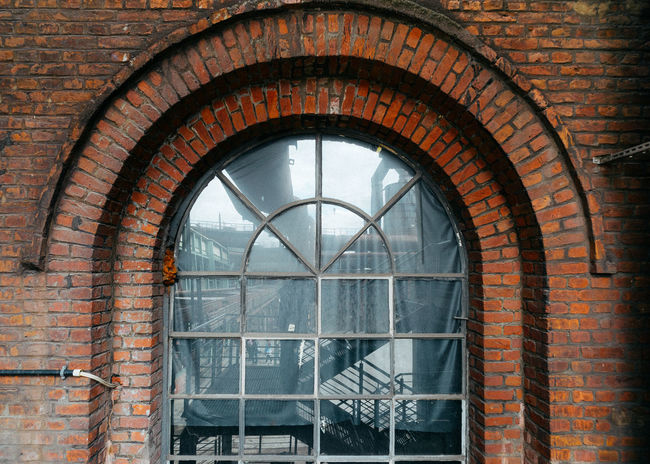 Inside Castle Arch Arched Architecture Brick Brick Wall Building Building Exterior Built Structure Closed Day Glass Glass - Material Museum No People Outdoors Pattern Reflection Transparent Wall Wall - Building Feature Window