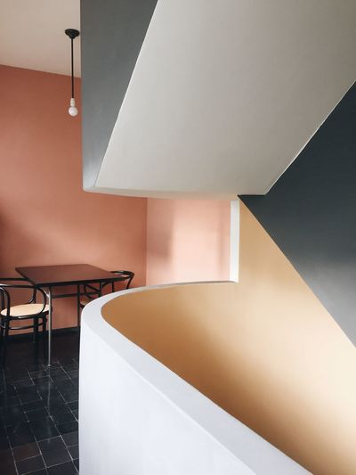 Forms Geometric Staircase Pastel Pure Minimalism Corbusier Lecorbusier Modernism Modern Architecture Modern Indoors  Table No People Architecture Chair Home Interior Built Structure