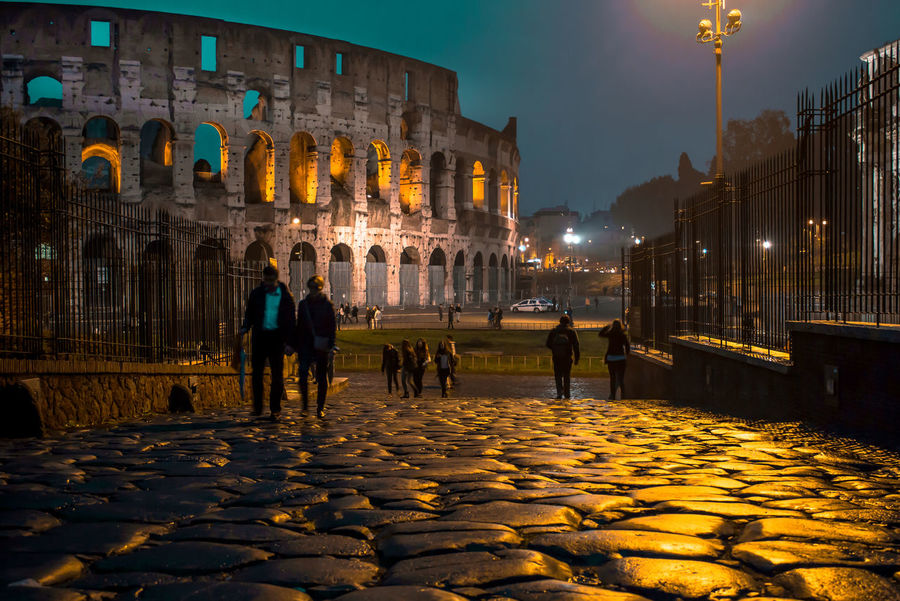 Roma at night Rome Roma Colosseum Colosseo Night Reflection Reflections Shine Gold Travel Street Architecture Building Exterior Built Structure Illuminated City History Street Light
