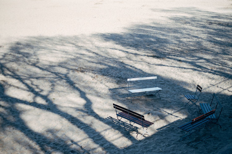 High Angle View Nature Architecture No People Building Exterior Built Structure Sunlight Day Transportation Outdoors City Water Aerial View Bench Chair Beach Beachphotography Sandy Beach Sand Shadow Tree Shadow Summer Sunlight Sunlight And Shadow Land Tranquility Tranquil Scene
