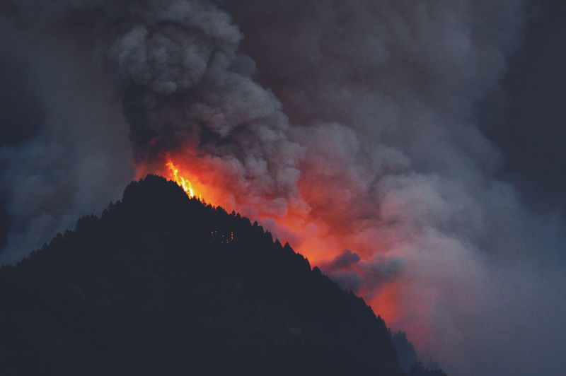 Low angle view of fire against clouds