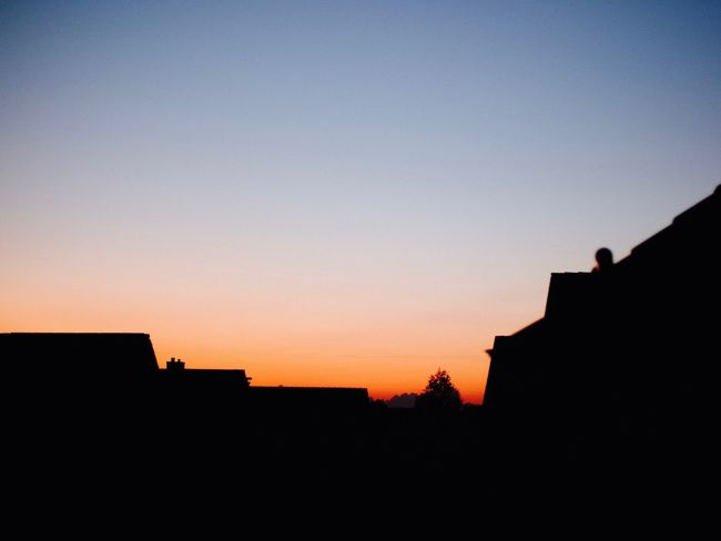 Sky Silhouette Architecture Built Structure Copy Space Sunset Clear Sky Building Exterior Low Angle View Beauty In Nature House Orange Color