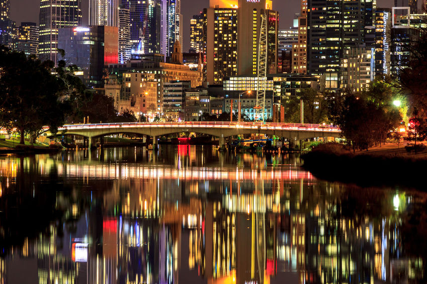 Reflection of the Melbourne CBD in the Yarra River. Architecture Building Exterior City Cityscape Illuminated Modern Night No People Outdoors Reflection Urban Landscape Urban Skyline Water