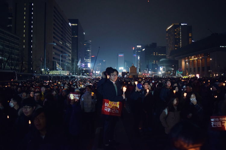 The City Light Large Group Of People Seoul Democracy Candle Remember Resign Proud Worst President Ever Night Crowd Outdoors