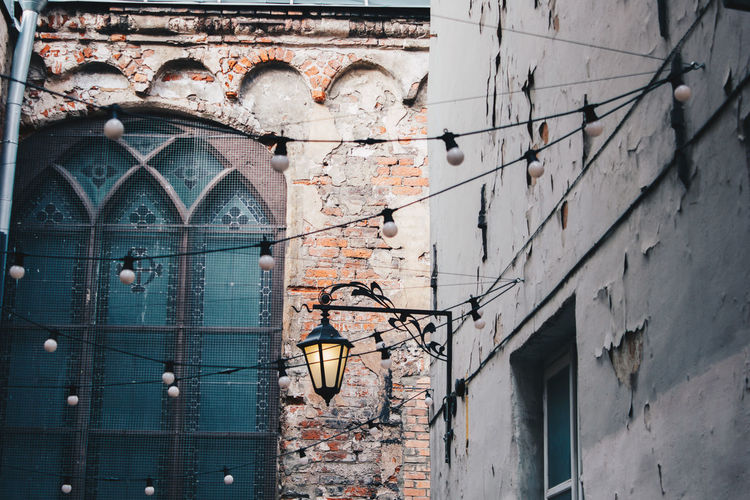 Old Town Oldcity Riga Latvia Light Bulb Lantern Lights Window Multi Colored Architecture Close-up Building Exterior Built Structure Wall Historic
