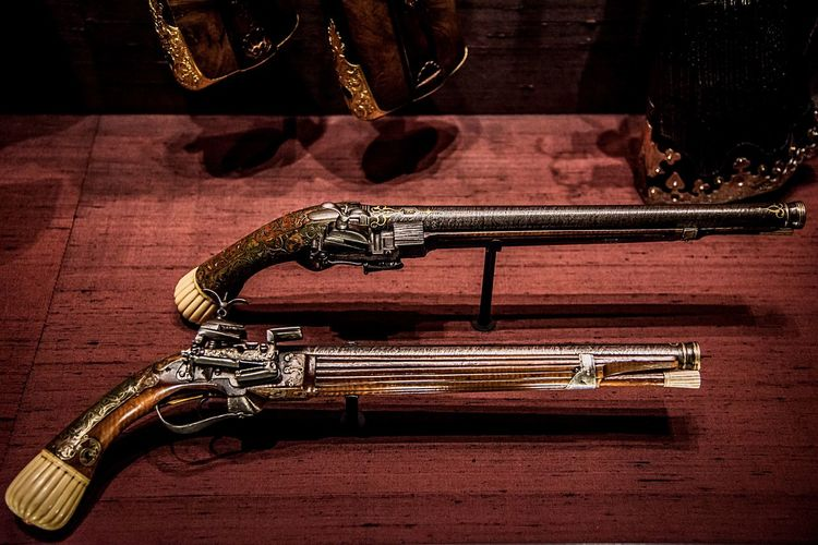 pair of antique weapons Craft And Art No People Metal Indoors  Close-up Music Musical Instrument Still Life