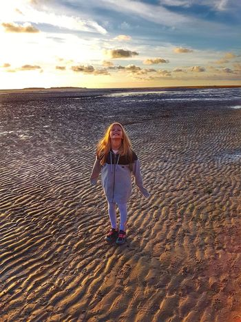 Julia Beach One Person Sand Sunset One Girl Only Standing Outdoors Sky Horizon Over Water
