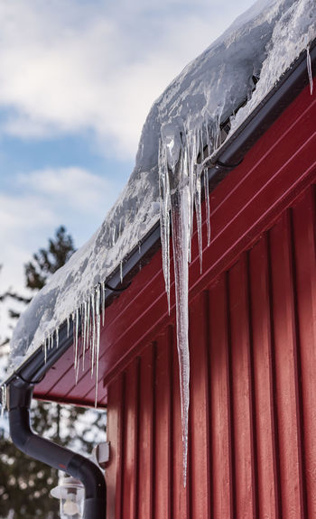 Low angle view of icicles against sky